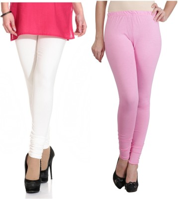 Ahhaaaa Women's White, Pink Leggings