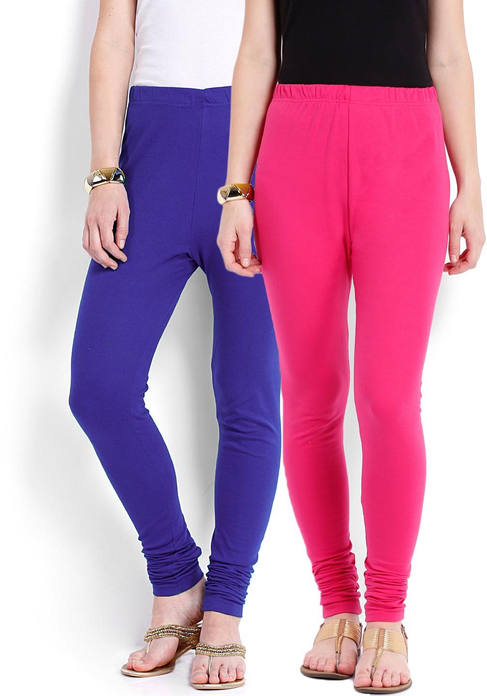Ten on Ten Womens Pink, Blue Leggings(Pack of 2)