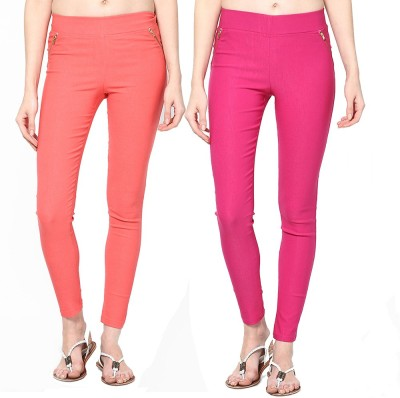 Dharamanjali Women's Orange, Pink Jeggings