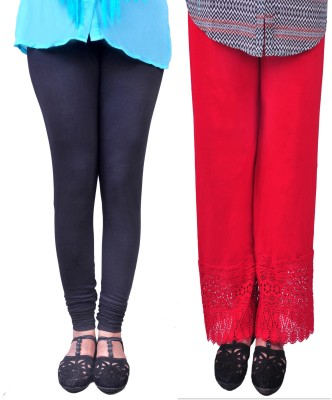 Anubhaviya Women's Red, Black Leggings