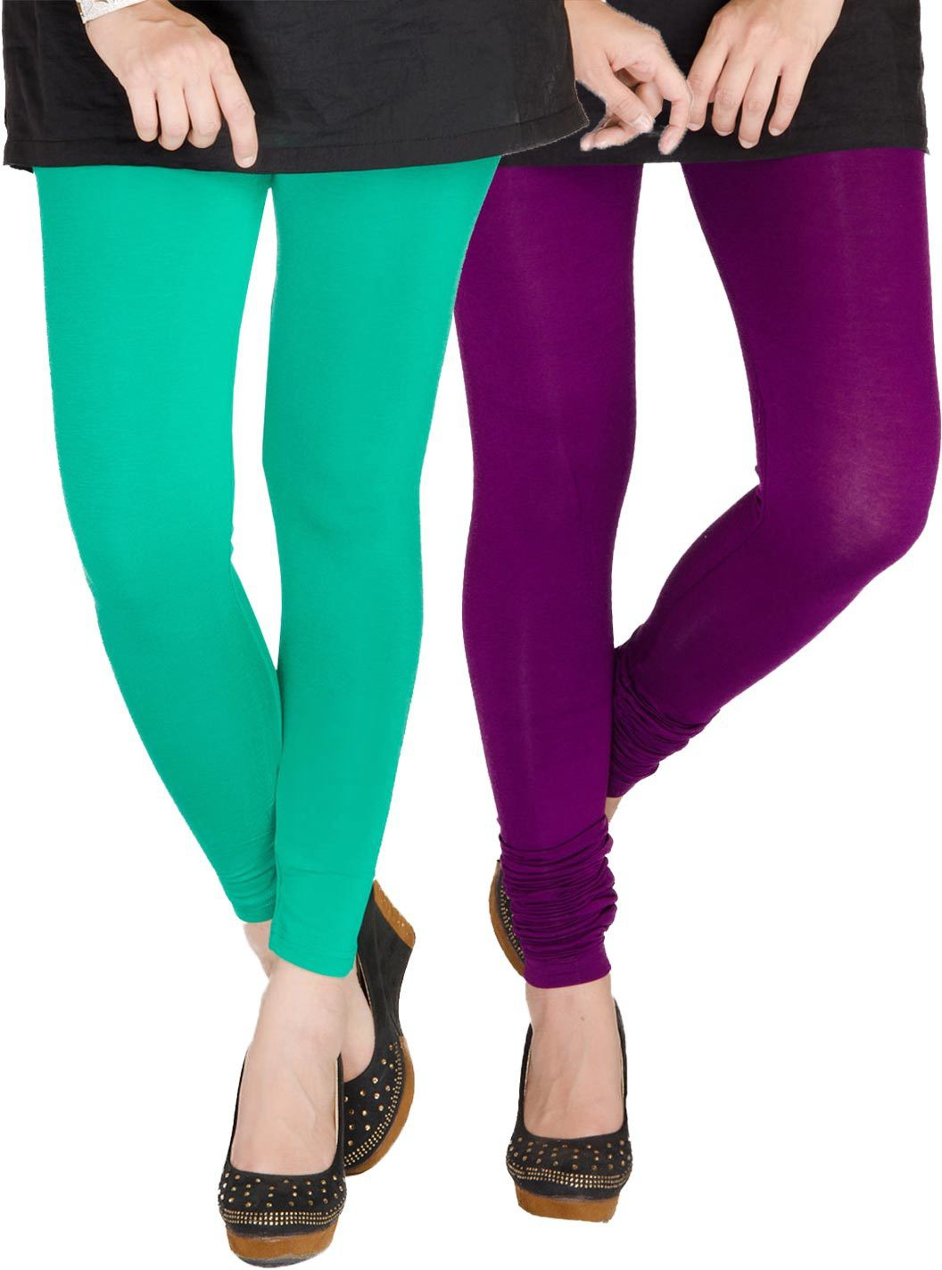 Medoo Womens Green, Purple Leggings(Pack of 2)