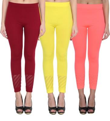 NumBrave Women's Maroon, Yellow, Pink Leggings