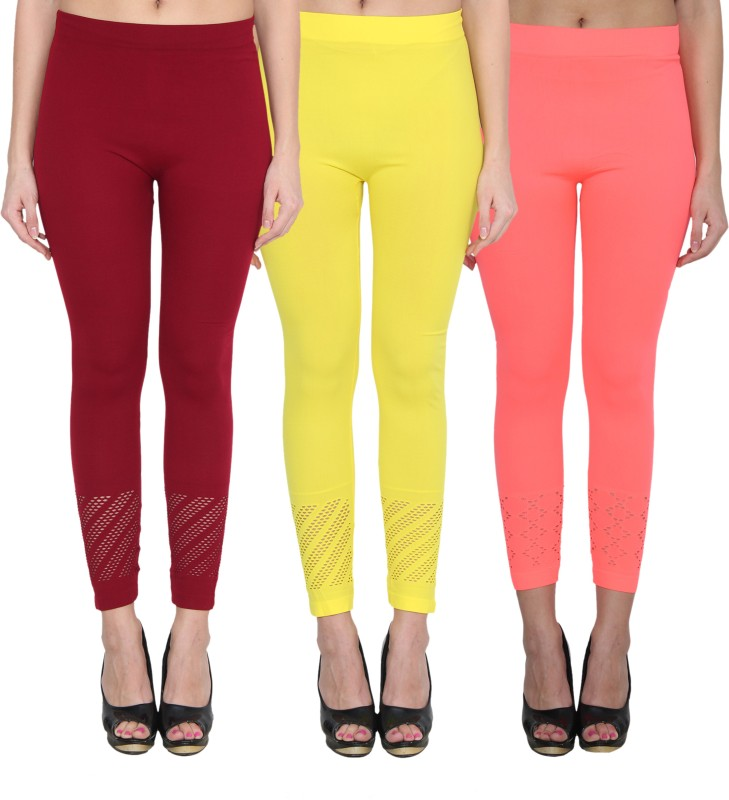 NumBrave Women's Maroon, Yellow, Pink Leggings(Pack of 3)