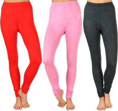 SLS Women's Red, Pink, Dark Green Leggings