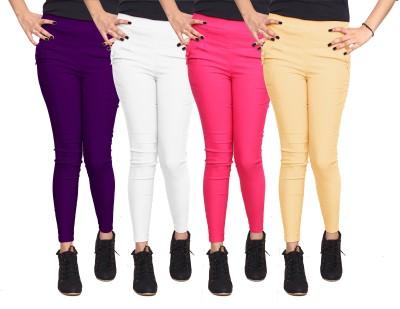 Xarans Women's Purple, White, Pink, Beige Jeggings