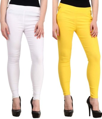 Magrace Women's Yellow, White Jeggings