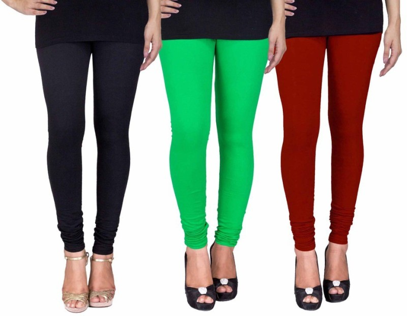 C&S Shopping Gallery Women's Black, Green, Maroon Leggings(Pack of 3)