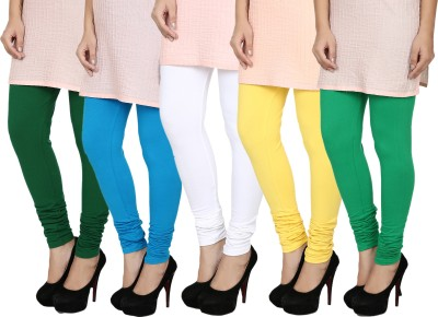 Fizzaro Women's Dark Green, Green, White, Blue, Yellow Leggings
