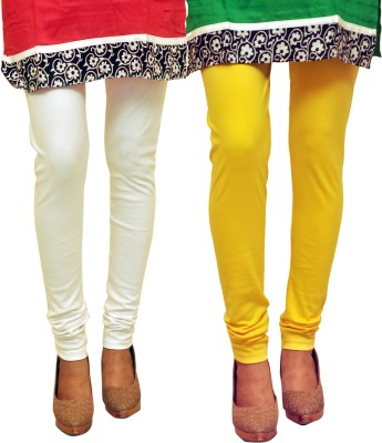 Dyed Colors Women's White, Yellow Leggings