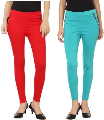 Emblazon Women's Red, Light Blue Jeggings