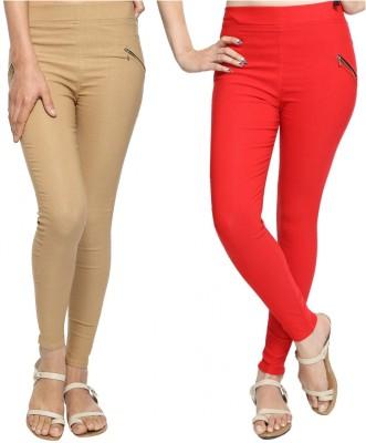 StyloFashionGarments Women's Beige, Red Jeggings