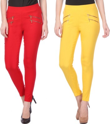 Flying Duck Women's Red, Yellow Jeggings