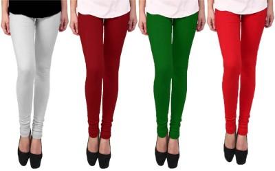 Escocer Women's White, Green, Maroon, Red Leggings
