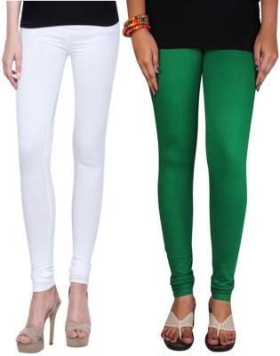 Sampoorna Collection Women's White, Dark Green Leggings