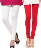 Famaya Women's White, Red Leggings (Pack...