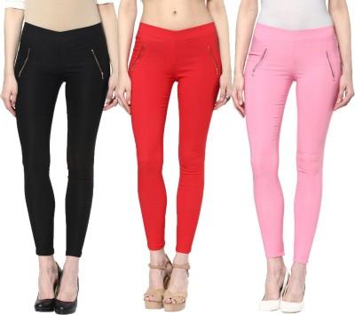 Zea-Al Women's Black, Red, Pink Jeggings