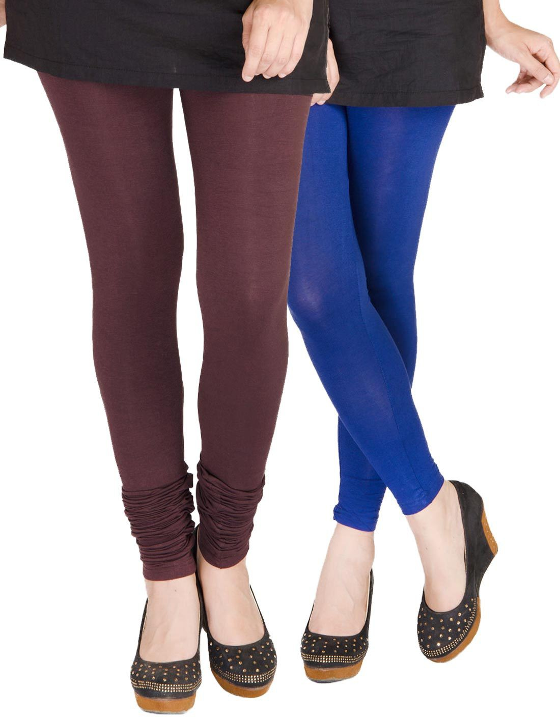 Medoo Womens Brown, Blue Leggings(Pack of 2)