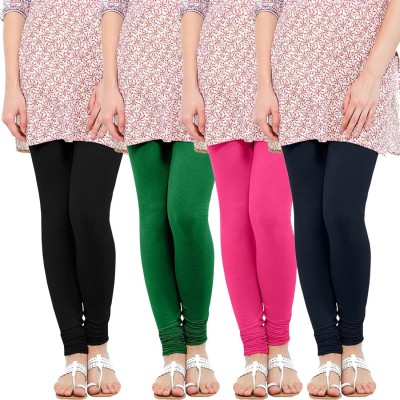 WellFitLook Women's Black, Green, Pink, Blue Leggings