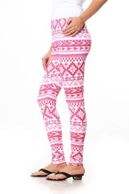 Global Trendz Women,s Pink, White Leggings