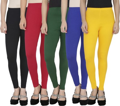 Anekaant Girl's Black, Maroon, Dark Green, Blue, Yellow Leggings