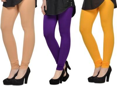 SareeGalaxy Women's Beige, Purple, Yellow Leggings