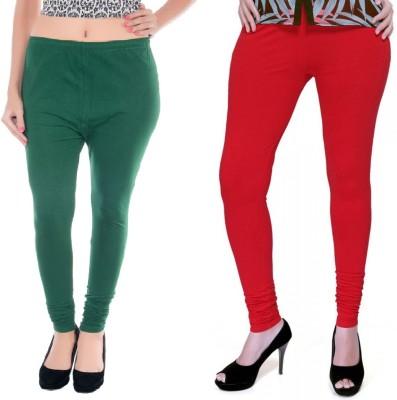 Colors More Women's Red, Dark Green Leggings