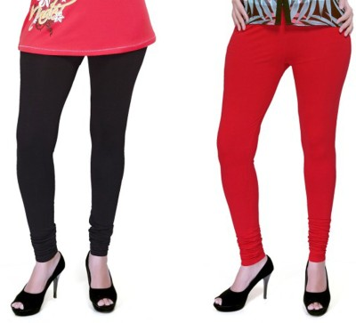 Boofa Women's Red, Black Leggings