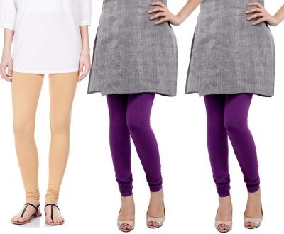Sampoorna Collection Women's Beige, Purple, Purple Leggings