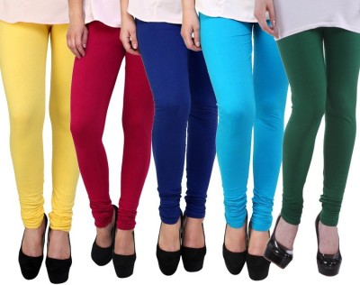 Freshka Women's Yellow, Black, Blue, Pink, White, Red, Green, Light Blue, Orange, Purple Leggings(Pack of 5)
