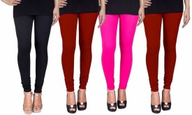 C&S Shopping Gallery Women's Black, Maroon, Pink, Maroon Leggings(Pack of 4)
