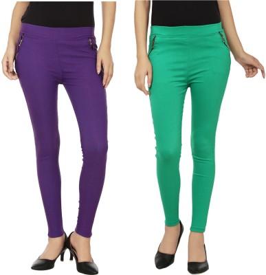 Emblazon Women's Purple, Green Jeggings