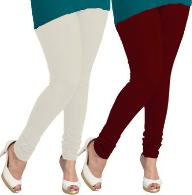 I-Diva Women's White, Maroon Leggings