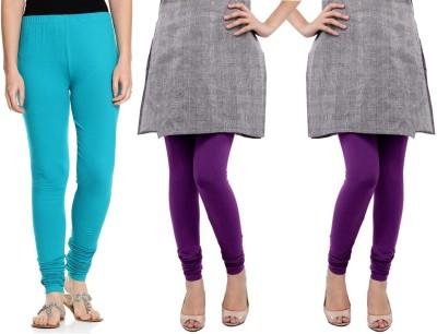 Sampoorna Collection Women's Blue, Purple, Purple Leggings