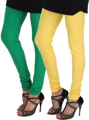 yuvraj creation Women's Yellow, Dark Green Leggings