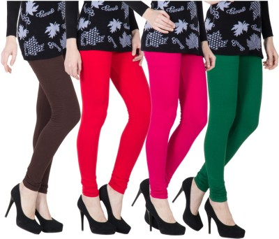 VERMELLO Women's Brown, Red, Pink, Dark Green Leggings