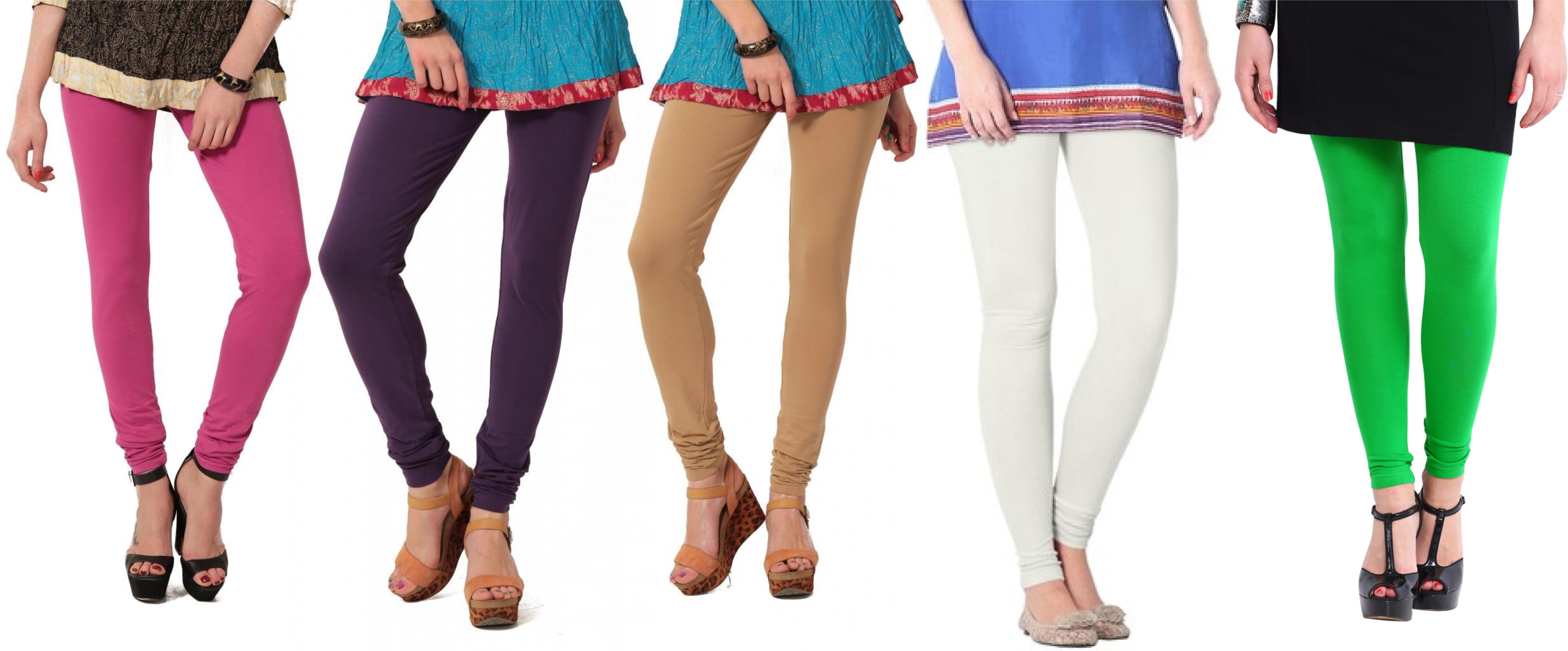 Angel Soft Womens Pink, Purple, Beige, White, Green Leggings(Pack of 5)