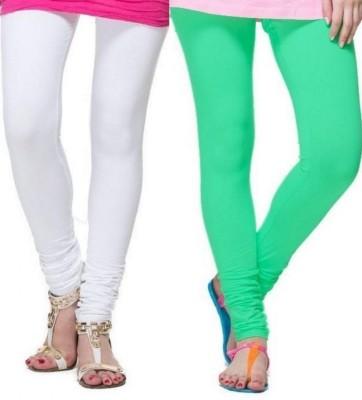 Zadine Women's White, Green Leggings