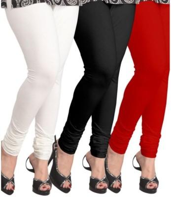 BuyNewTrend Women's White, Black, Red Leggings(Pack of 3) at flipkart