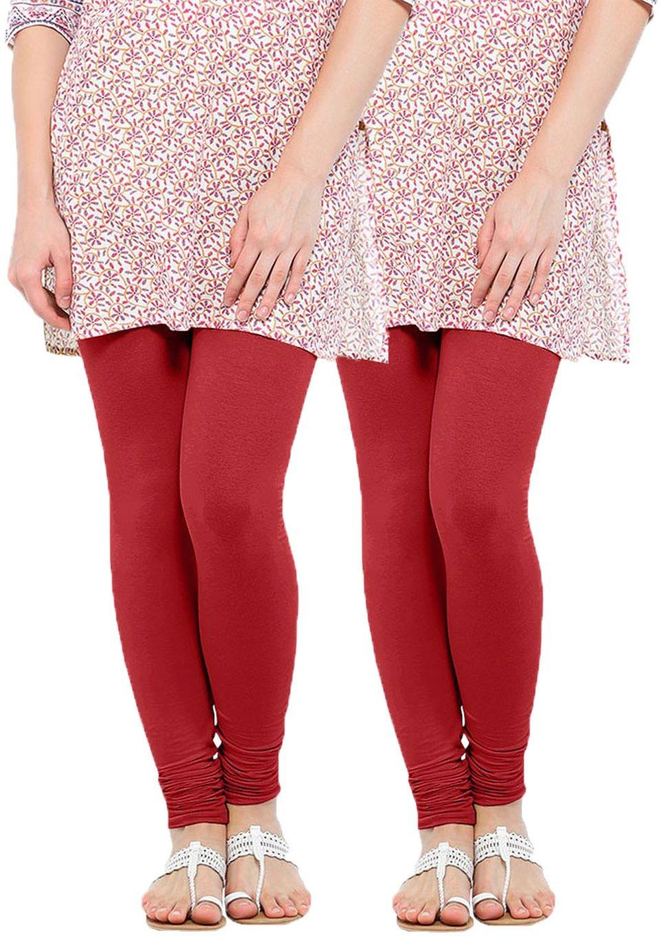 Linking Threads Womens Red Leggings(Pack of 2)