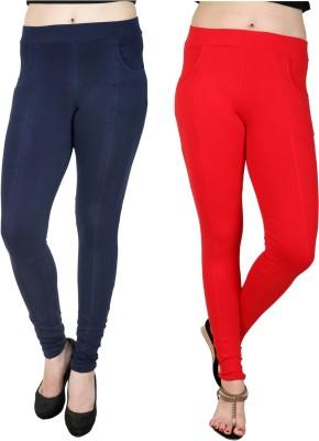Baremoda Women's Dark Blue, Red Jeggings