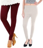 Colors More Women's Maroon, White Leggin...