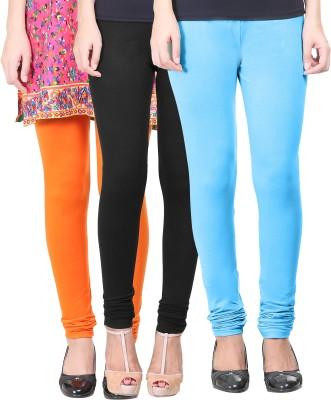 Eshelle Women's Black, Orange, Light Blue Leggings