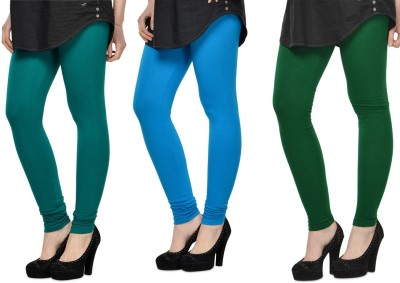 SareeGalaxy Women's Dark Blue, Light Blue, Dark Green Leggings