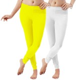LGRL Women's White Leggings (Pack of 2)