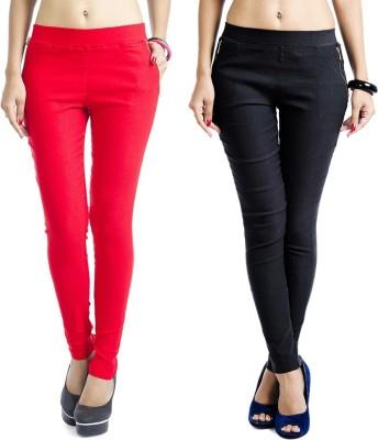 Kyron Women's Black, Red Jeggings