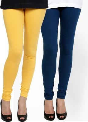 Zavlin Women's Yellow, Dark Blue Leggings