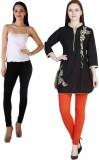 MDR Women's Black, Orange Leggings (Pack...