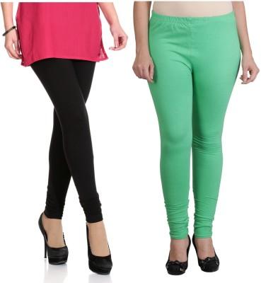 Ahhaaaa Women's Black, Light Green Leggings