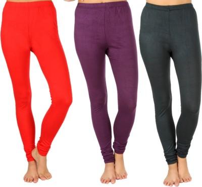 SLS Women's Red, Purple, Dark Green Leggings