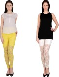 Simrit Women's Yellow, White Leggings (P...